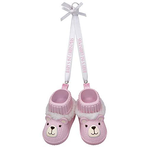 Hallmark Keepsake Ornament 2019 Year Dated Baby Girl's First Christmas Pink Teddy Bear Booties