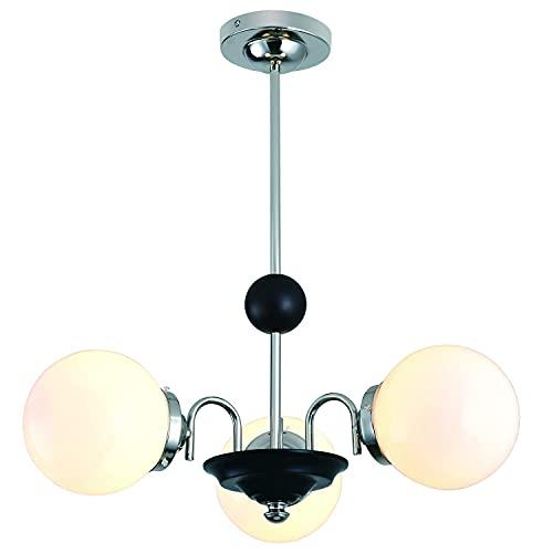 Candelabro,Lámpara de techo vintage Lámparas de techo,Brazo curvo de cromo pulido con 3 luces,Iluminación de techo colgante de vidrio esférico,Iluminación colgante para sala de estar,dormitorio