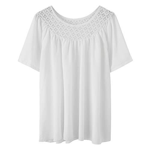 TWIFER Damen Spitze Kurzarm Sommer Shirt Patchwork Sommer T Stück Lässige Bluse Top