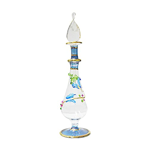 Perfumero Egipcio de Cristal soplado Hecho a Mano en Egipto Jarrón de Flores Azul 16 cm