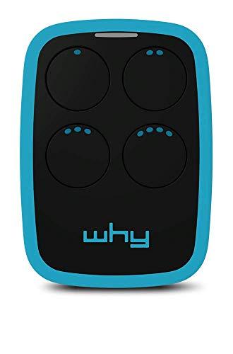 WHY EVO - Radiocomando Universale Apricancello - Ampio Raggio - Multifrequenza da 300 a 868Mhz - 4 Tasti - Blue - Sky Blue