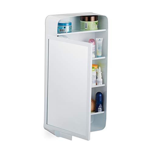Relaxdays Armario con Espejo, 2 estantes, 3 Compartimentos, baño, Pared de una Puerta, Metal, 61 x 30 x 12,5 cm, Color Blanco, 1 Unidad