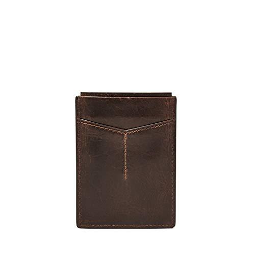 Fossil Men's Derrick Leather Minimalist Front Pocket Card Case Wallet, Dark Brown
