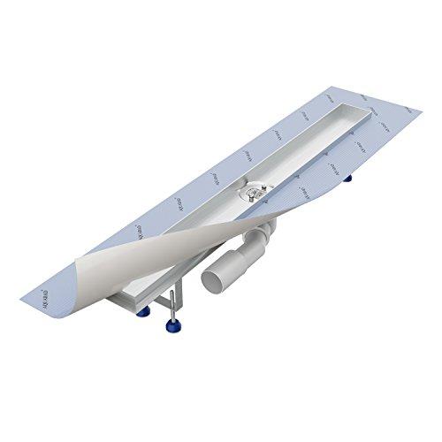 Grundkörper-SET für Duschrinne 80 cm AQUABAD® SDS Pro aus Edelstahl inkl. Haarsieb / Viega Ablauf waagerecht / Bodenablauf, Duschablauf, Ablaufrinne (Ohne Abdeckung - separat erhältlich)
