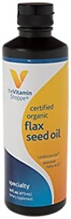 The Vitamin Shoppe Certified Organic Flax Seed Oil, Essential Fatty Acids That Supports Cardiovascular Immune Health, High...