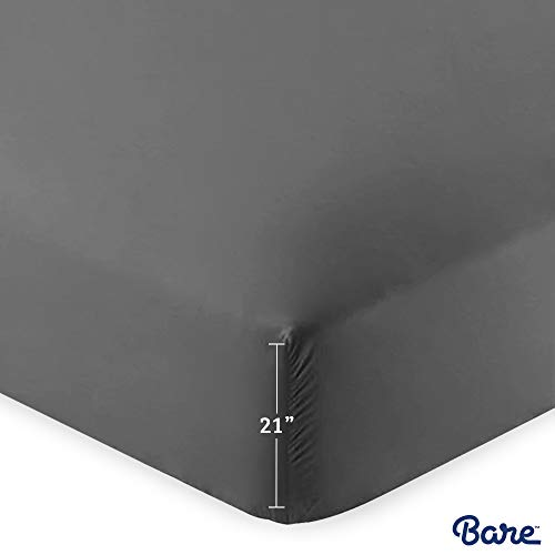 Bare Home Fitted Bottom Sheet - Premium 1800 Ultra-Soft Wrinkle Resistant Microfiber, Hypoallergenic, Extra Deep Pocket (Queen - 21' Pocket, Grey)