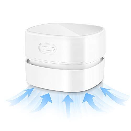 Maxjaa Mini-Sauger, Tischstaubsauger Klein Handstaubsauger Desktop Vacuum Cleaner Mit Ladekabel Bürsten, für Desktop, Haushalt, Büro und Auto, Weiß