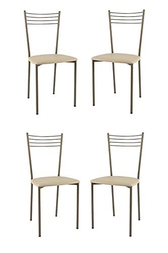 t m c s Tommychairs - Set 4 sillas Elena para Cocina, Comedor, Bar y Restaurante, Estructura en Acero Pintado de Color Cappuccino y Asiento tapizado en Polipiel Color Lino