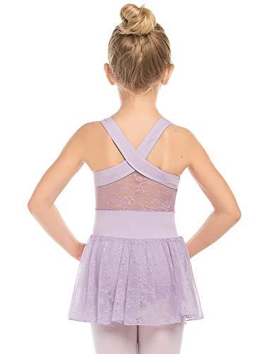 Bricnat Mädchen Ballettkleidung Ballettkleid Tanzbody Gymnastikanzug Balletttrikot Kurzarm Tanzkleid mit Tütü Kinder Baumwolle
