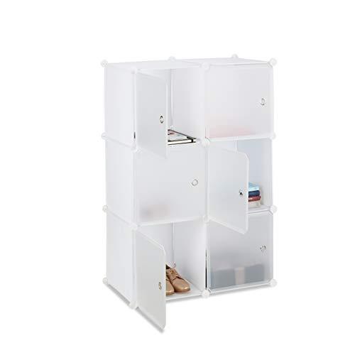 Relaxdays, weiß Regalsystem mit 6 Türen, DIY, Cubes, Grifföffnungen, Raumteiler, Badregal, Kunststoff, HBT: 105x70x35 cm, Standard