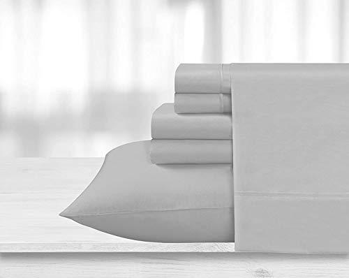 800-Thread-Count 100% Cotton Sheet Light Grey Rv-King-Sheets, 4-Piece Long-Staple Combed Cotton Best-Bedding Sheets for Bed, Breathable, Soft Cotton Bed Sheets Fits Mattress Upto 15'' Deep Pocket
