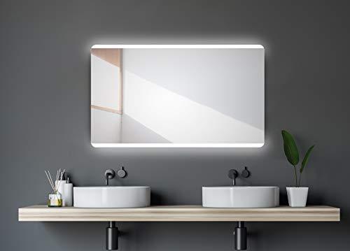 Badspiegel mit Beleuchtung Talos Chic - Badezimmerspiegel 120 x 70 cm - mit hinterleuchtetem Raumlicht - Lichtfarbe neutralweiß - hochwertiger Aluminiumrahmen - vertikale und horizontale Aufhängung