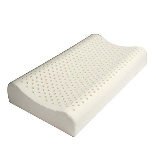 HULDORO 100% Natural Standard látex Almohada de Confort for el Cuello Alivio de Dolor Fatiga Almohada Grande