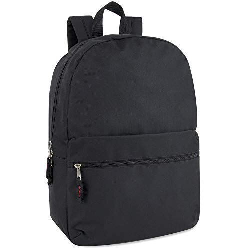 Trail maker solid Color rucksäcke für Kinder für die Schule - klassisch traditionelle 17-Zoll-rucksäcke mit verstellbaren gepolsterten Schulterriemen (schwarz)