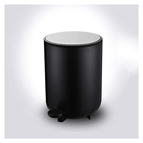 xiaokeai Papierkorb 8L Trash Can Fußbetätigte Trash Can Haushalt Wohnzimmer Schlafzimmer Abfalleimer Küche und WC Fußbetätigte Müllbehälter mit Deckel Mülleimer (Color : Black)