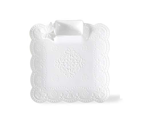 Witte Keramische plaat, Dinner Plate Bestek, Dumpling Keramische plaat, met Afzonderlijke Saus Schaal 10.4