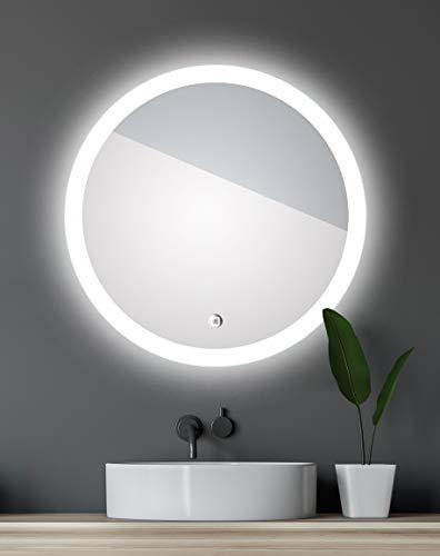 Talos Badspiegel mit Beleuchtung Lunar - Badezimmerspiegel mit Ø 59 cm - Spiegel rund mit umlaufenden Raumlicht und einem weißen Metallkorpus
