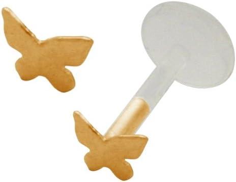 Cute Gold Plated Butterfly Flex Flexible Bioplastic Labret Monroe lip tragus piercing bar body jewelry Ring 16g, 16 gauge