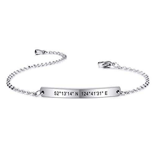 MeMeDIY Personalized Bracelet Customized Engraving Name/Date for Women Girls Girlfriend Best Friend Stainless Steel Dainty Ankle Link Bracelets with Adjustable Chain Bridesmaid Gift (Silver Color)
