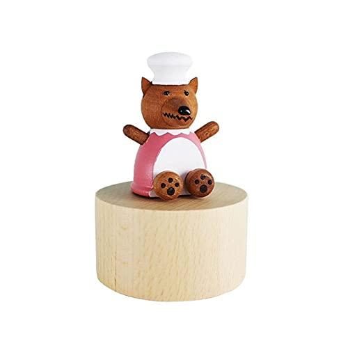 ZZL Caja de Música Caja de música de Madera Lindo Regalo para Navidad Feliz cumpleaños Navidad año Nuevo Regalo niño Regalo Mini Animal manivela Tema música Caja Decorativa (Color : Wolf Grandmother)