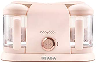 BEABA Babycook Duo 4 in 1 Baby Food Maker, Baby Food Processor, Steam Cook and Blender, XL Capacity 9.1 Cups, Cook Healthy Baby Food at Home, Batch Cook, Dishwasher Safe, Rose Gold