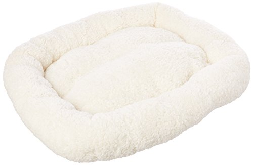 Long Rich HCT ERE-001 Super Soft Sherpa Crate Cushion Dog and Pet Bed, White, By Happycare Textiles, Standard style, 24 x 18 inches