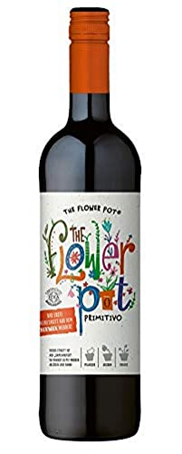 The Flower Pot Primitivo Puglia IGP – Trockener Bio-Rotwein – Etikett aus Samenpapier zum Pflanzen bunter Blumen – 1 x 0.75l