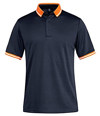 TACVASEN Men's Short Sleeve Polo Shirts Big and Tall Training Shirts Sports Top Navy, 2XL