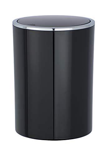 WENKO Schwingdeckeleimer Inca Black - Abfallbehälter mit Schwingdeckel Fassungsvermögen: 5 l, Kunststoff (ABS), 18.5 x 25.5 x 18.5 cm, Schwarz
