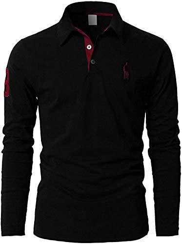 STTLZMC Polo Homme Manche Longue Broderie Girafe Casual T-Shirt Tops,Noir,L