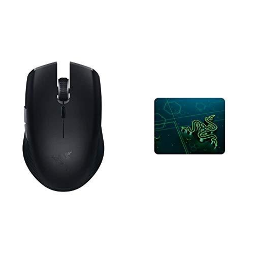 Razer Atheris - Kabellose Gaming und Office Maus (280 Stunden Batterie-Laufzeit für Wireless Arbeiten) Schwarz & Goliathus Mobile - Extra dünne weiche Gaming Maus-Matte für unterwegs