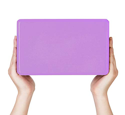 Mind Reader YOBRICK-PUR High Density EVA Foam Blocks Non-Slip Surface for Yoga, Pilates, Meditation, Supports Deepen Poses, Improve Strength and Aid Balance and Flexibility, Purple