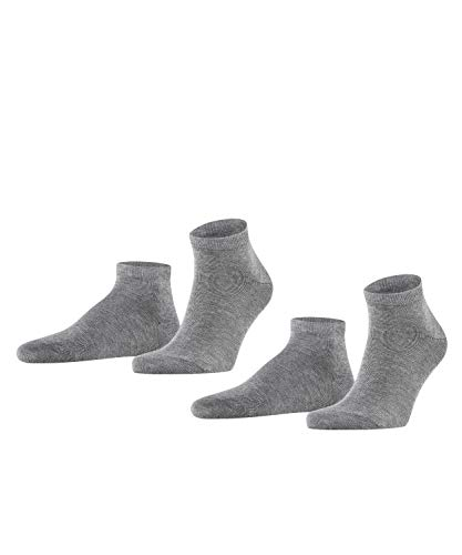 FALKE Herren Sneakersocken Happy - 85prozent Baumwolle, 2 Paar, Grau (Light Grey Melange 3390), Größe: 43-46