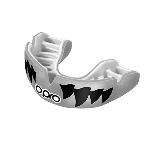OPRO Power-Fit Mouthguard - for Football, Rugby, Hockey, Lacrosse, Wrestling, and Other Contact Sports (Silver Jaws, Adult)