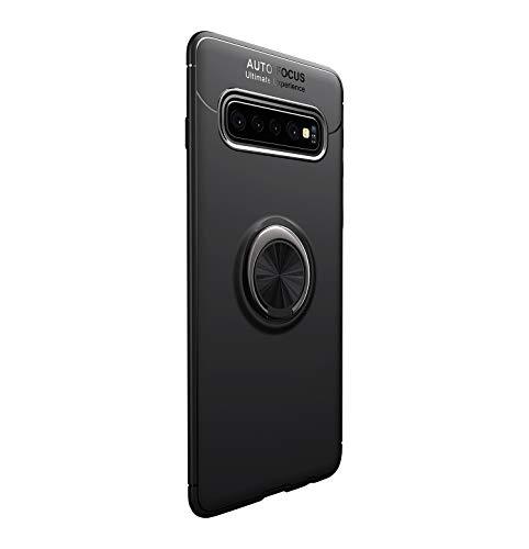 Funda para Samsun Galaxy S10/S10 Plus Teléfono Móvil Silicona Bumper Case Funda con Anillo Giratorio de 360 Grados Rotaria Ring Holder Protectora Caso (Negro, Samsung Galaxy S10 Plus)