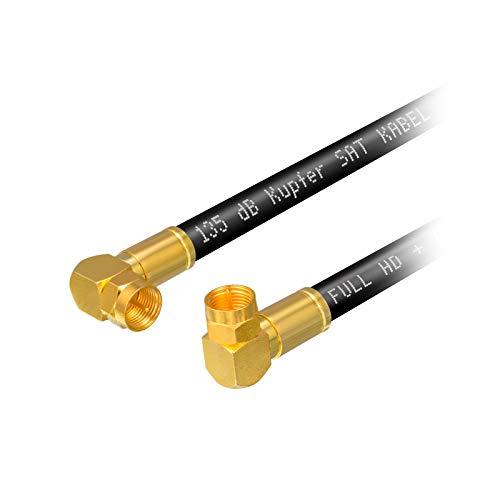 Cavo antenna SAT da 1 m HB-DIGITAL HDTV in rame puro schermato a 5 vie max 135dB coassiale RG6 Connettore di compressione angolare 2X 90 ° Cavo coassiale 1080p Full HD 3D UHD Connettore Ultra 4K F