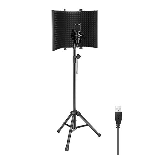 Neewer USB Microphone Kit - 192KHz/24Bit Plug&Play Cardioid Condenser Mic with 3-Panel Microphone Isolation Shield and 65.2 inches Tripod Stand for Livestreaming/YouTube/Gaming Record/Singing, etc