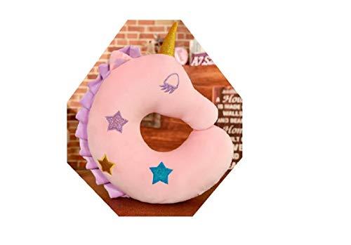 Eenhoorn reiskussen, nekkussen, roze, 45 x 40 cm super zacht, fleece capuchon, cadeau voor kinderen en volwassenen, U-vormig, perfect voor reizen in de auto, trein of vliegtuig, kinderverjaardag