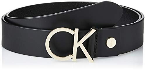 Calvin Klein CK Adj.Logo Belt 3.5cm Cinturón, Negro (Black Leather & Light Gold Buckle 910), 95 (Talla del fabricante: 80) para Mujer