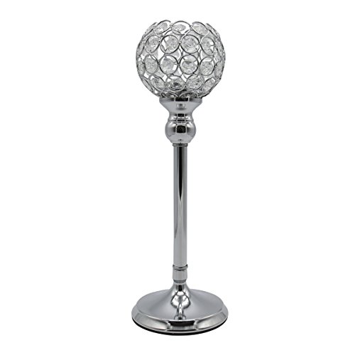 Joynest Crystal Candle Holders Coffee Table Decorative Centerpiece Candlesticks Set for Dining Table Decorations, Gifts for Thanksgiving/Birthday/Valentines Day/Housewarming (Silver, 13.8'')