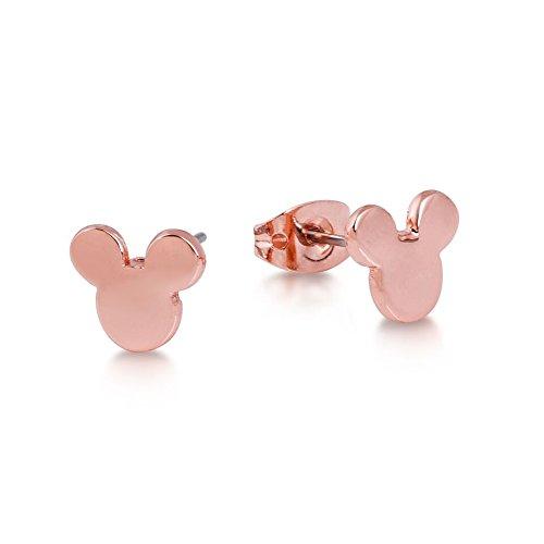 Disney–Pendientes chapados en oro rosa con cierre de mariposa, diseño con cabeza de Mickey Mouse