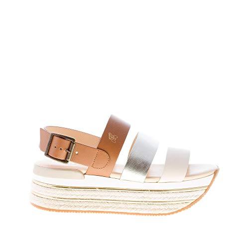 Hogan Donna H430 Sandalo con Fasce Multicolore e Suola Maxi in Corda. Tacco 5,5 cm Color Multicolore Size 35