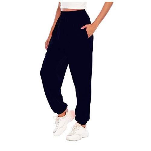 Damen Sporthosen Lang Jogginghose Loose Fit Elastischer Bund Freizeithosen Hohe Taile Traininghose mit Taschen Bequem Lässige Sweathose für Gym Trainings