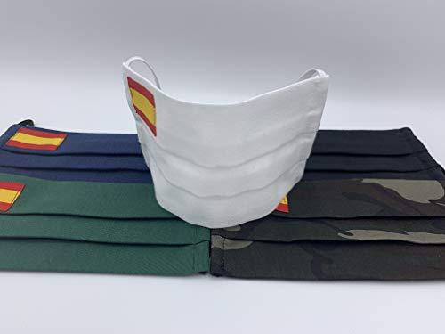 Pack 2 unidades de algodon color blanco con bandera de España