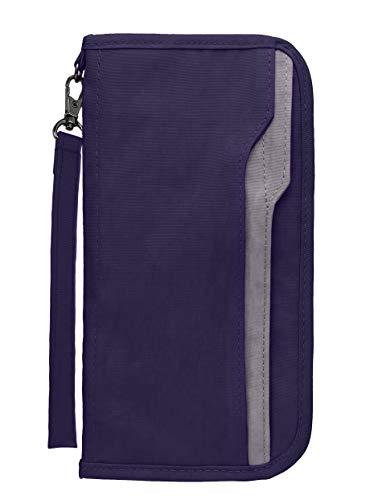 Zoppen RFID Travel Passport Wallet & Documents Organizer Zipper Case with Removable Wristlet Strap, Purple