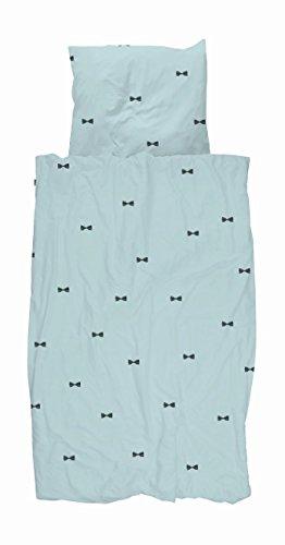 Snurk Parure de lit Bow Tie Bleu 135 x 200 cm 100% Coton Nœud Papillon Bleu