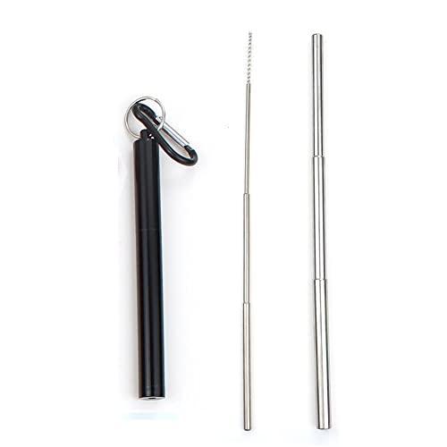DONDOW Paja telescópica plegable portátil 304 de acero inoxidable de metal para beber pajita de viaje de camping con cepillo limpiador (color: nivel de plata negra)