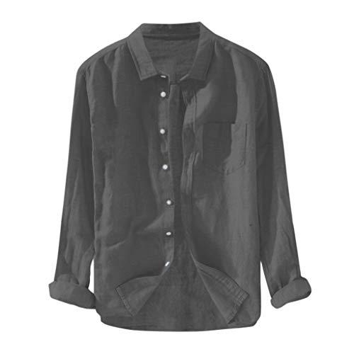 Dasongff heren casual tops lange mouwen t-shirt Buton linnen vaste blouse kleding katoenen shirt sweatshirt zomerjurk tuniek overhemd playsuit bovenstuk kostuum