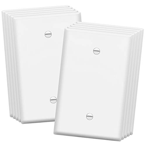 ENERLITES Blank Device Wall Plate, Jumbo Blank Cover, Over-Size 1-Gang 5.5' x 3.5', Polycarbonate Thermoplastic, 8801O-W-10PCS, White (10 Pack)