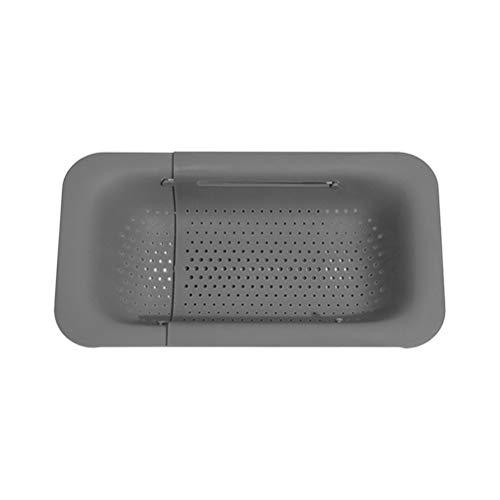 EXH Waschbecken Filterablage Seiher Sieb Set Klappbar Abtropfsieb über die Spüle Vegtable/Obst Küche Einziehbarer Sieb ideal zum Abtropfen von Nudeln, Gemüse, Obst (Grau)